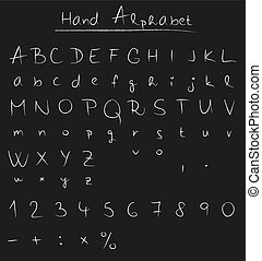 Handwritten alphabet on chalkboard - Handwritten alphabet in...