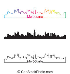 Melbourne skyline linear style with rainbow in editable...