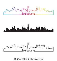Melbourne skyline linear style with rainbow in editable...