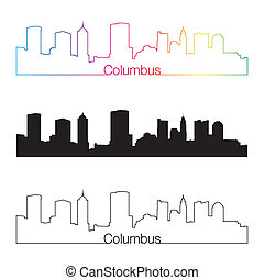 Columbus skyline linear style with rainbow - Columbus...