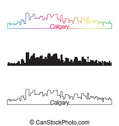 Calgary skyline linear style with rainbow in editable vector...
