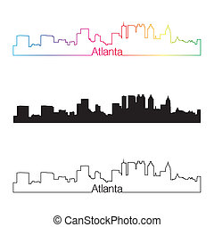 Atlanta skyline linear style with rainbow in editable vector...