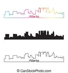 Atlanta skyline linear style with rainbow in editable vector...