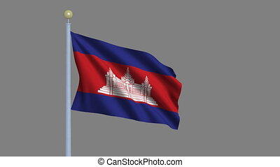 Flag of Cambodia with alpha matte - Flag of Cambodia waving...