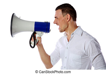 Crazy man screaming in megaphone on white background