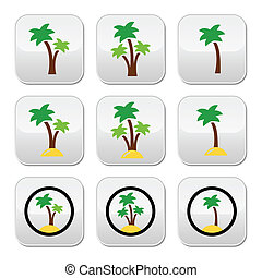 Palm trees, exotic holidays on beac - Collection of green...
