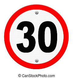 A road sign indicating a speed limit