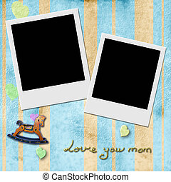 Love you mom, two Instant Photo Frame in blue background -...