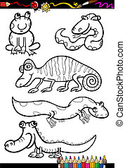 cartoon animals set for coloring book - Coloring Book or...