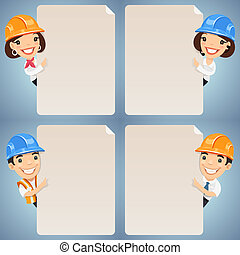 Foremen Cartoon Characters Looking at Blank Poster Set. In...