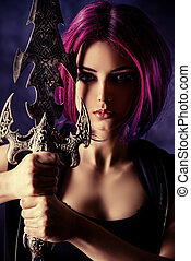 fantasy pink - Beautiful girl warrior with a sword standing...