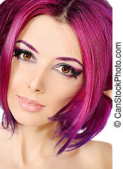 makeup - Beautiful young woman with bright crimson hair....