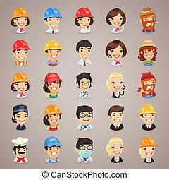 profesiones, vector, caracteres, iconos, Set1, 3