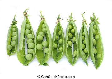 pea - fresh green pea on the white background