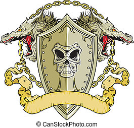 shield of the dragons - shield with dragons head and chains...