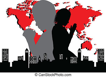 Pray for the world - woman praying for the world-vector...