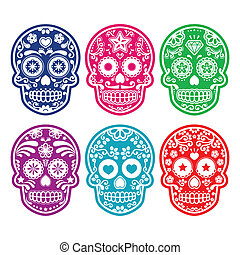 Mexican sugar skull in color - Vector icon set of decorated...