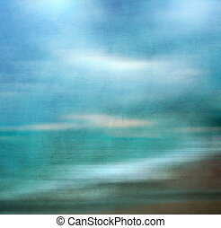 Retro image of sandy beach. - An abstract sea seascape with...