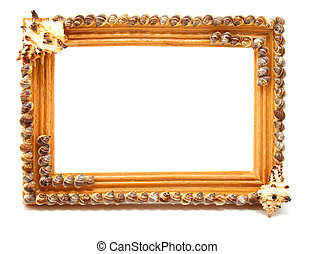 wooden frame for photo, isolated on white background