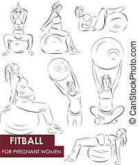 Fitball for pregnant - Vector set of a pregnant woman going...