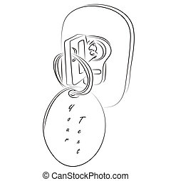 Key in the lock - Vector illustration of a key in the lock