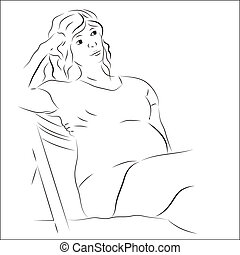 Pregnant woman sitting on the chair
