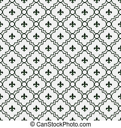 White and Dark Green Fleur-De-Lis Pattern Textured Fabric...
