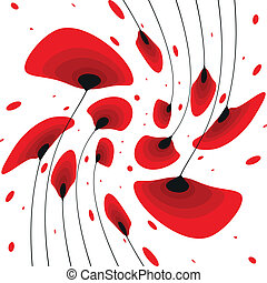 sample pattern with poppy flowers - red poppy flowers...