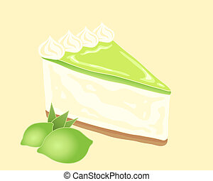 key lime pie - an illustration of a slice of key lime pie...