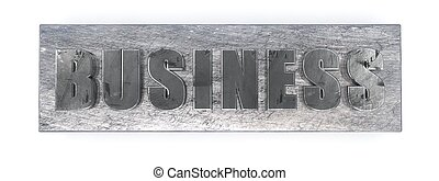 Business, metal letters on the white. 3D illustration