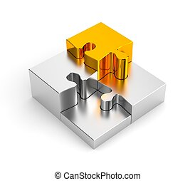 Podium from chrome puzzles, with one gold - Conceptual...