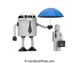Robot is holding an umbrella over businessman - Image...