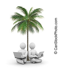 Person working or relax on laptop under a palm tree - Image...