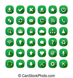 Green long shadow style icons