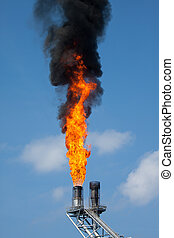 Gas burn or Flare burn in offshore location, Oil and gas...