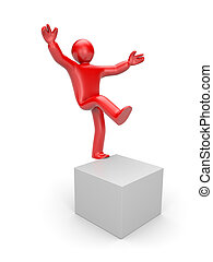 3d small man balancing on one leg - People in action...
