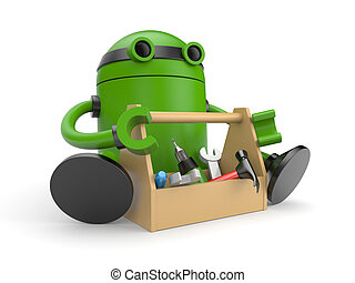 Robot with toolbox - New technologies metaphor Isolated on...