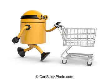 The robot makes purchases - Business concept Isolated on...