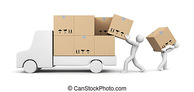 People unload a car - Transportation and shipping. Isolated...