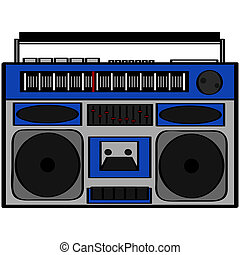 Boom box - Cartoon illustration showing an eighties style...