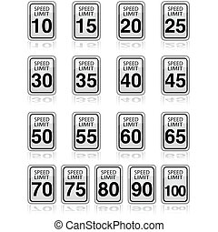 Speed limit - Collection of traffic signs showing different...