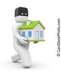 Thief stolen house - People at work metaphor. Isolated on...