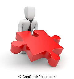 Person push puzzle piece - Business concept. Isolated on...