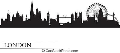 london, stad, horisont, silhuett, bakgrund