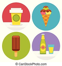 set of sweet food icons in flat