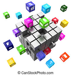 Applications and technology concept cubes
