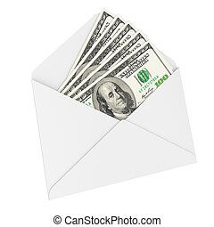 Bribe money in an envelope isolated on white background