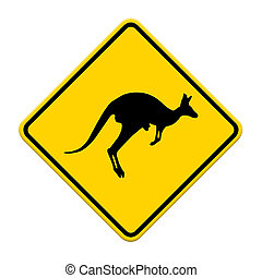 beware Kangaroo sign on traffic label
