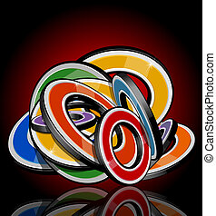 Abstract multi-colour 3d shapes. Full editable vector...