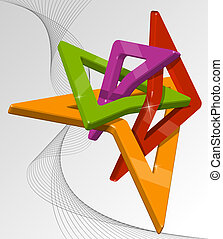 Abstract multi-colour 3d shapes Full editable vector...
